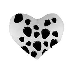 Black Strowberries Standard 16  Premium Flano Heart Shape Cushions by Valentinaart