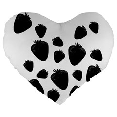 Black Strowberries Large 19  Premium Flano Heart Shape Cushions by Valentinaart