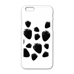 Black Strowberries Apple Iphone 6/6s White Enamel Case by Valentinaart