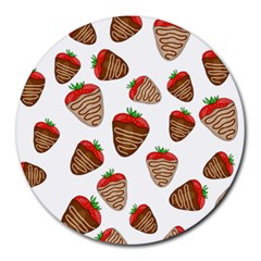 Chocolate Strawberries  Round Mousepads by Valentinaart