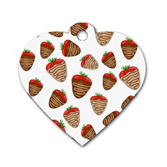 Chocolate Strawberries  Dog Tag Heart (one Side)