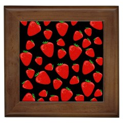 Strawberries Pattern Framed Tiles by Valentinaart