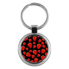 Strawberries Pattern Key Chains (round)  by Valentinaart