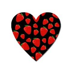 Strawberries Pattern Heart Magnet by Valentinaart