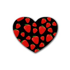 Strawberries Pattern Rubber Coaster (heart)  by Valentinaart