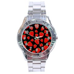 Strawberries Pattern Stainless Steel Analogue Watch by Valentinaart