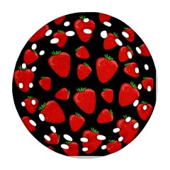 Strawberries Pattern Round Filigree Ornament (2side)