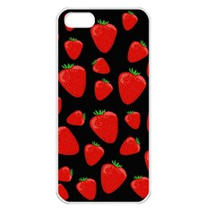 Strawberries Pattern Apple Iphone 5 Seamless Case (white) by Valentinaart