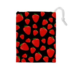 Strawberries Pattern Drawstring Pouches (large)  by Valentinaart
