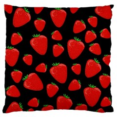 Strawberries Pattern Large Flano Cushion Case (one Side) by Valentinaart