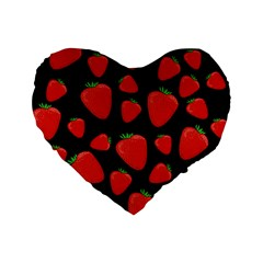 Strawberries Pattern Standard 16  Premium Flano Heart Shape Cushions by Valentinaart
