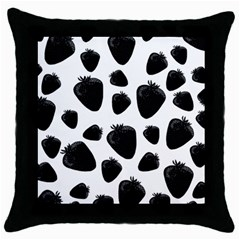 Black Strawberries Pattern Throw Pillow Case (black)