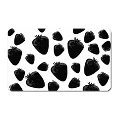 Black Strawberries Pattern Magnet (rectangular) by Valentinaart