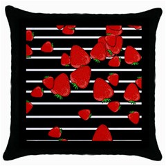 Strawberries  Throw Pillow Case (black) by Valentinaart