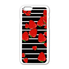 Strawberries  Apple Iphone 6/6s White Enamel Case by Valentinaart