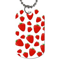 Decorative Strawberries Pattern Dog Tag (one Side) by Valentinaart