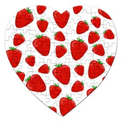 Decorative Strawberries Pattern Jigsaw Puzzle (heart) by Valentinaart