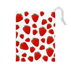 Decorative Strawberries Pattern Drawstring Pouches (large)  by Valentinaart