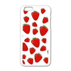 Decorative Strawberries Pattern Apple Iphone 6/6s White Enamel Case by Valentinaart