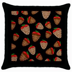 Chocolate Strawberries Pattern Throw Pillow Case (black) by Valentinaart