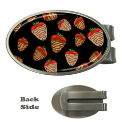 Chocolate Strawberries Pattern Money Clips (oval)  by Valentinaart