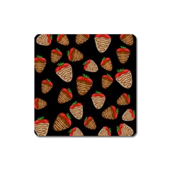 Chocolate Strawberries Pattern Square Magnet by Valentinaart