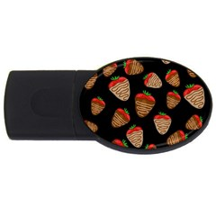 Chocolate Strawberries Pattern Usb Flash Drive Oval (4 Gb)  by Valentinaart