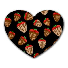 Chocolate Strawberries Pattern Heart Mousepads by Valentinaart
