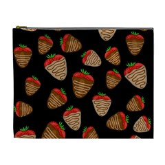 Chocolate Strawberries Pattern Cosmetic Bag (xl)