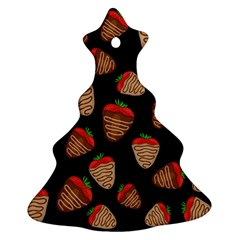 Chocolate Strawberries Pattern Christmas Tree Ornament (2 Sides) by Valentinaart