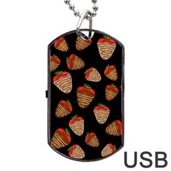 Chocolate Strawberries Pattern Dog Tag Usb Flash (one Side) by Valentinaart