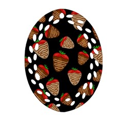 Chocolate Strawberries Pattern Oval Filigree Ornament (2 Side)