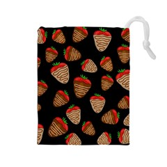 Chocolate Strawberries Pattern Drawstring Pouches (large)  by Valentinaart