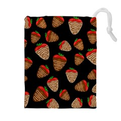 Chocolate Strawberries Pattern Drawstring Pouches (extra Large)