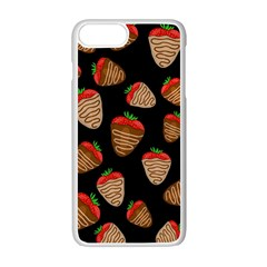 Chocolate Strawberries Pattern Apple Iphone 7 Plus White Seamless Case by Valentinaart