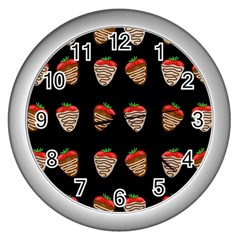 Chocolate Strawberies Wall Clocks (silver)  by Valentinaart