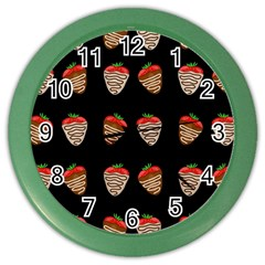 Chocolate Strawberies Color Wall Clocks by Valentinaart