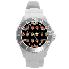 Chocolate Strawberies Round Plastic Sport Watch (l) by Valentinaart