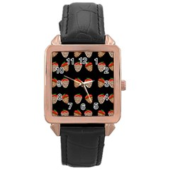 Chocolate Strawberies Rose Gold Leather Watch