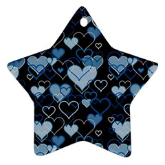 Blue Harts Pattern Ornament (star)  by Valentinaart