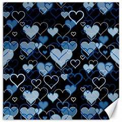 Blue Harts Pattern Canvas 12  X 12   by Valentinaart