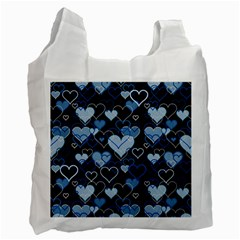 Blue Harts Pattern Recycle Bag (one Side) by Valentinaart
