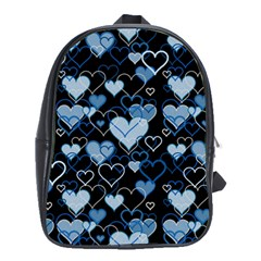Blue Harts Pattern School Bags(large)  by Valentinaart