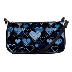 Blue Harts Pattern Shoulder Clutch Bags by Valentinaart