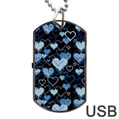 Blue Harts Pattern Dog Tag Usb Flash (two Sides)  by Valentinaart