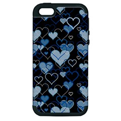 Blue Harts Pattern Apple Iphone 5 Hardshell Case (pc+silicone)