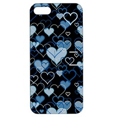 Blue Harts Pattern Apple Iphone 5 Hardshell Case With Stand by Valentinaart
