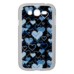 Blue Harts Pattern Samsung Galaxy Grand Duos I9082 Case (white) by Valentinaart