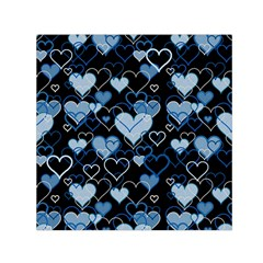 Blue Harts Pattern Small Satin Scarf (square) by Valentinaart
