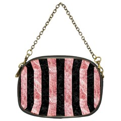 Stripes1 Black Marble & Red & White Marble Chain Purse (two Sides) by trendistuff